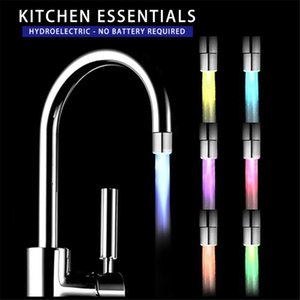 LED Glowing Water Tap Kitchen Bathroom Water Powered Plastic LED Faucet Temperature Contro Pressure Sensor