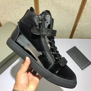 New Hot Brand Men Casual Fashion Top Quality Patent Leather High Top Shoes Zipper With Drill Sneakers Autumn Winter[Original Box,EU39-46]