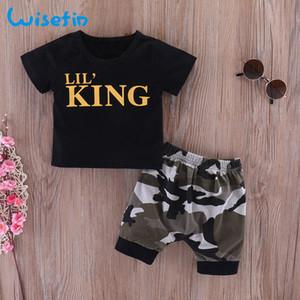 Wisefin nouveau-né garçons vêtements set manches courtes nourrissons et vêtements pour tout-petits noir tops + camo pantalon nouveau-né tenues pour bébé