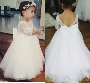 Lovely Flower Girls Dresses Lace Top Tulle Skirt Backless First Communion Dress With Bow Illusion 3 4 Long Sleeves Girls Pageant Dress