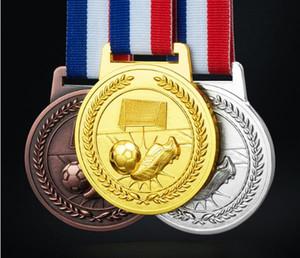Médaille de football personnalisé avec corde d'or Broze Et Sliver Médailles de monnaie avec ruban 3D Coulée sur commande du football Médaillon Sport Médailles