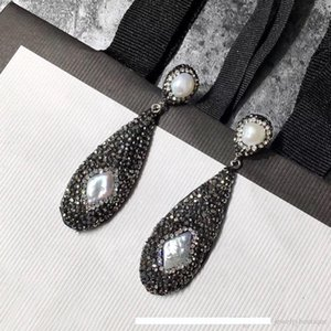 High USpecial 2018 Luxury quality drop earring with black diamond and nature pearl for women stud Earrings Fashion earrings With Box PS5689