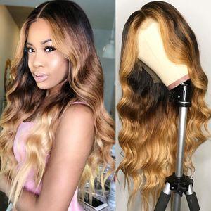 T1b / 4/27 Body onda completa del cordón del pelo humano pelucas Omber color # 30 del frente del cordón del cabello humano pelucas Pre-desplumados 360 pelucas de encaje