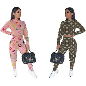 Frauen Pullover Hosen 2-teiliges Set laufen Turnhalle Herbst Winterkleidung Marke Sweatshirt Leggings sweatsuit Outfits Ernte Spitzenoberbekleidung 1546 Bodysuit