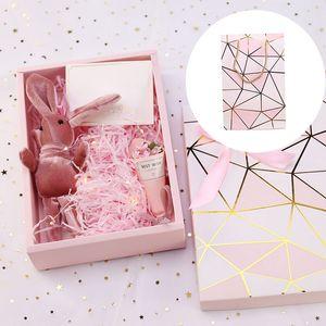 Papel Shredded rosa DIY Gift Box papelão, Bolacha, Bolo Embalagem Box Hot Stamping Papelão doces de casamento de luxo