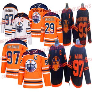Edmonton Oilers 2019-2020 Troisième Jersey 97 Connor McDavid Jersey 29 Leon Draisaitl 93 Ryan Nugent-Hopkins Hockey Maillots
