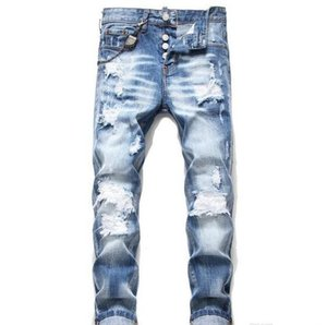 Les nouveaux hommes Distressed Ripped Bleu Jeans Skinny Fashion Designer Slim Fit Washed Denim Pantalons Motocycle lambrissé Hip Hop Pantalon motard