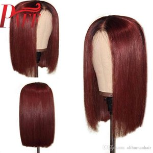 Short Bob Glueless Lace Front Human Hair Wigs Ombre 99J Color 150 Density Red Brazilian Remy Hair Wigs Pre Plucked