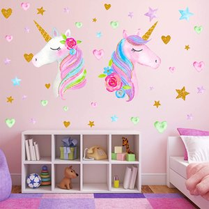 Large Size Unicorn Wall Decor,Removable Unicorn Wall Decals Stickers Decor for Gilrs Kids Bedroom Nursery Birthday Party Favor