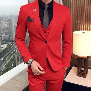 Smokings De Mariage Rouge Soirée Fête Hommes Costumes 2019 Mode À Pointe De Revers Garniture Fit Custom Made Trois Pièces Ensemble (Veste + Pantalon + Gilet)
