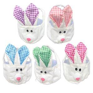 Длинные уха Easter Basket 5 цветов мультфильм милый кролик Банни сумки Plaid Printed хранения сумка Пасхальный подарок сумка OOA7571-2