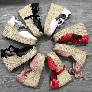Nouveau Femmes Mode pêcheur Talon compensé Sandales Talons Designer MATELASSE Plateforme Poids léger Chaussures Ficelles Cuir de veau Weave Dentelles-up Espadrille
