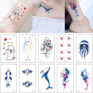 Mysterious Blue Style Tattoo Sticker Colored Drawing Fake Fish Jellyfish Small Flower Bear Birds Decal Waterproof Temporary Tatoo Cute Kids