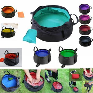 9 cores portátil Folding lavatório exterior dobrável Bucket lavatório bolsa de água Pot para Camping Caminhadas Banho Supplie AAA400