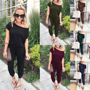 Mujeres Off Shoulder Jumpsuit Pants Club Sexy Casual Loose Solid One Hombro Manga Corta Party Ladies Rompers Playsuit LJJA2676