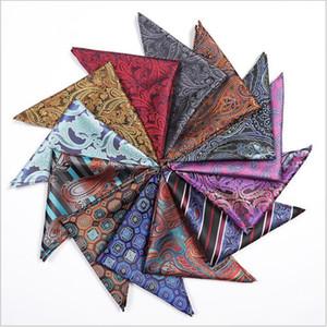 Men Suits Handkerchiefs Pocket Square Hankies Wedding Party Silk Hanky Handmade Handkerchief Stripes Plaid Hanky Fashion Accessories B4742