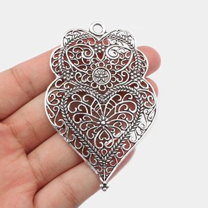 4PCS Large Hollow Filigree Charms Antique Silver Viana Heart Pendant for Necklace Earring Jewelry Findings Making 74x49mm