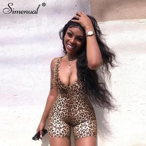 Leopardo cuello en V aptitud del motorista playsuits mangas de la manera atractiva de las mujeres de los mamelucos del mono flaco delgado del verano PLAYSUIT ropa caliente