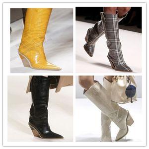 2020Toe Мода Дизайнер Странная Высокие каблуки натуральная кожа Женская обувь Новая осень зима сапоги Runways Длинные Женщина Boots