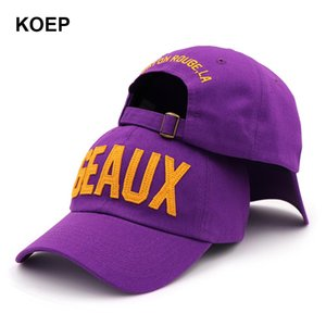KOEP 2019 New Cotton Baseball Cap Embroidery GEAUX Letter Snapback Caps Fitted Bone Casquette Hat For Men Custom Hats EjstF
