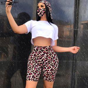 all'ingrosso leopardo casuale Stampa Tie Dye Set con maschere estate Sporty donne Tie-Dye Tute Set Tre Pezzi Sexy Outfits