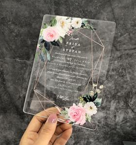 아름다운 꽃 디자인을 가진 고전적인 명확한 아크릴 청첩장