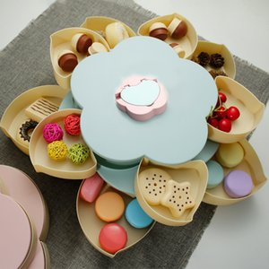 Double-layer Rotating Fruit Tray Snack Nut Fruit Tray Petal Shaped Storage Tank Can Put Mobile Phone Bracket Food Storage Box