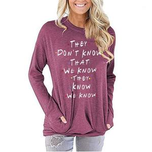 Manches longues Famale Designer Top Ladies Apparel Femmes Lettre col rond T-shirt Printemps Automne Pocket Casual