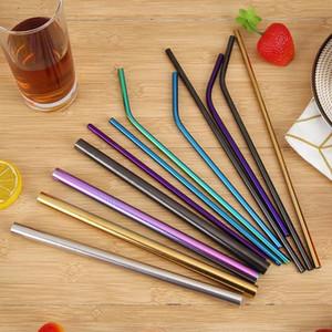 maison 304 réutilisable en acier inoxydable Drianking Straws robuste Bent droite 215 * 6 mm Straws avec le nettoyant Pinceau Accessoires de cuisine