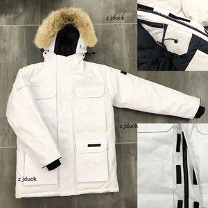 Jacket Canadá Inverno Mens Stylist de Down Parka Casacos Big Fur com capuz Canadá Down Jacket Brasão Tamanho S-3XL