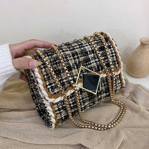 ACELURE Woolen Metal Chain Crossbody Bags for Women Lock Hasp Shoulder Messenger Bag Lady Shopping Handbags and Purses