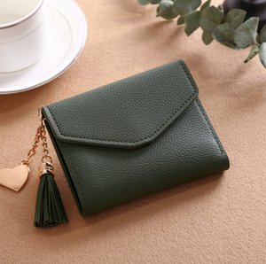 wallets and purses women's short Korean style of the wallet fringed pendant lychee wallet multi-card position coin purse