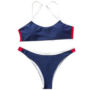 2020 Sexy Bikini Sets Women Push Up Brazilian Biquini Swimsuit Low Waist Swimwear Bandeau Beach Wear High Leg Solid Bathing Suit