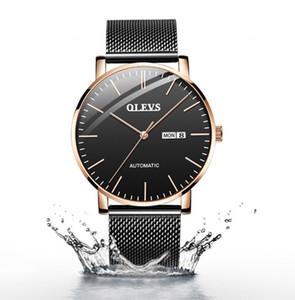 Top Herren Original OLEVS Markensport Ultradünne Swiss Automatic mechanische Uhr Herren Classic wasserdicht Milan Mesh Uhren Datum / Woche