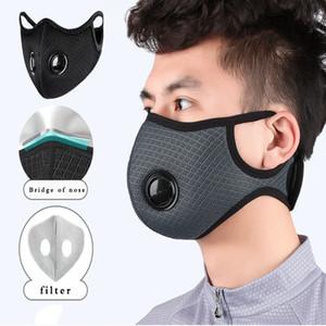 3 ile Bisiklet Yüz Maskesi bırakır 4 renk Spor Eğitimi Çift Hava Nefes Vana Maske Filtreler
