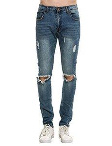 COOFANDY Jeans da uomo con fori distrutti strappati strappati Pantaloni Demin slim fit attillati