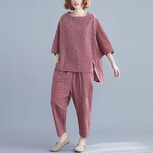 Johnature 2019 Summer 2-teiliges Set Frauen einfach bequeme lose Baumwolle und Leinen Plaid O-Ansatz Oberseiten-elastische Taillen-Frauen Set Hose