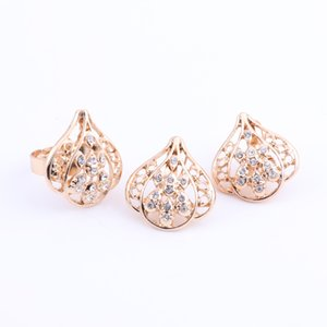 Women Luxury Bridal Jewelry Sets Indian African Necklace Earrings Jewelry Set Gold Color Nigerian Wedding Jewelry Set