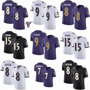 Baltimores 남성 여자 청소년 까마귀 저지 8 라마 잭슨 9 저스틴 터커 (15) 마키스 브라운 7 추적 McSorley 스티치 축구 유니폼