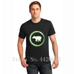 Knitted Short Sleeve O Neck glow circle green tapir neon glowing effect retro homme Spring Standard Pop Top Tee t shirt for men