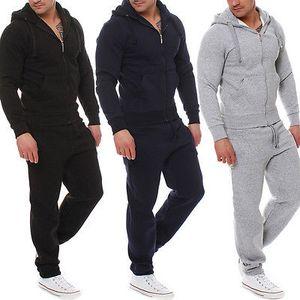 2017 de alta qualidade Marca New Men Treino Jogging Hoodie Tops + calças compridas 2pcs Esportes Suit Clothes Define capuz Casacos Calças