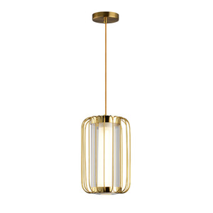 Moderna di rame metallo Birdcage vetro acrilico LED Lampadario casa Living Room Hotel Pendant Light Art Fixture PA0633