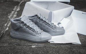 Hightop originale in vera pelle di lusso Arena Sneaker piatto di qualità eccellente delle donne, gli uomini esterni Kanye West Moda Trainer