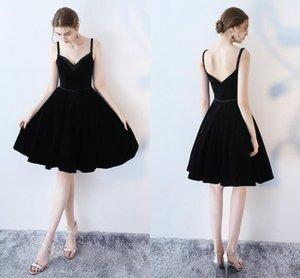 High-Quality New Formal Evening Dresses V-Neck Strap Black Velveteen Short Handmade Beaded Back To School Ball Party Prom Dresses DH92
