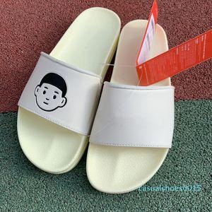 Summer Flip Flops Women Flat Slippers Men Outdoor Scuffs Designer Minimalist Slip-On Sandals White Leather Couple Flat Flip Flops c15