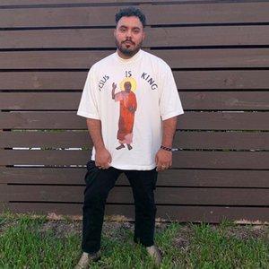 20SS 예수 IS KING 비닐 T 셔츠 짧은 소매 티 크루 넥 T 셔츠 높은 품질의 커플 여성 남성 디자이너 패션 셔츠 HFWPTX409