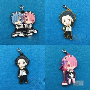 1pcs Anime Re:Life in A Different World from Zero Pendant Ram Rem Rubber Keychain Cosplay Prop Mobile Phone Decor Keyring Gift
