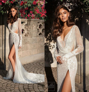 Elihav Sasson vestidos de casamento da sereia Coxa alta Dividir Pescoço V Lace Beads manga comprida Praia Wedding Dress Sexy Boho vestidos de noiva Plus Size 44