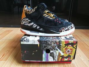 con la scatola 2020 di pallacanestro del Mens Scarpe Sneakers 3s pacchetto leopardo animale Nero Giallo Camo per gli uomini di sport Shoes US7-13