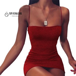 SVOKOR Parlak BODYCON Elbise Kadın Partisi Gece Kulübü Kolsuz Seksi Kısa Yaz Elbiseler Kadınlar Backless